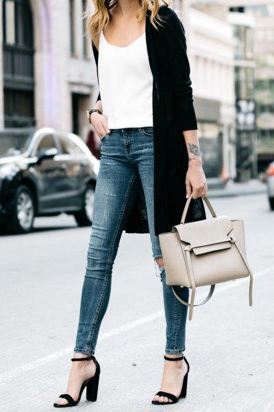 white vest top black longline cardigan