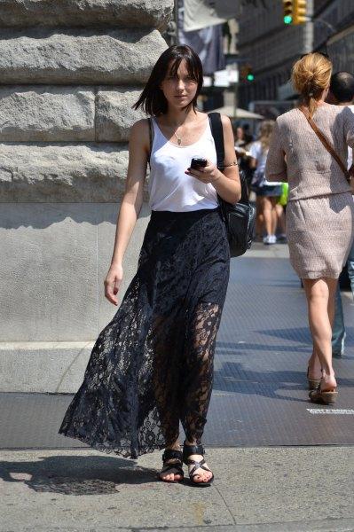 white vest top breezy maxi lace dress