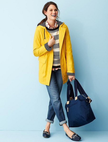 wide striped sweater yellow raincoat cuffed jeans