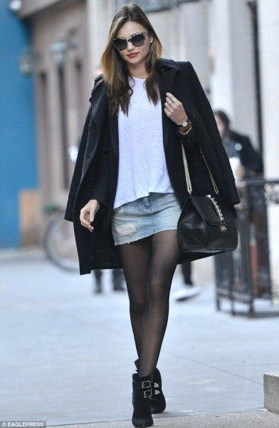 wool coat mini denim skirt winter
