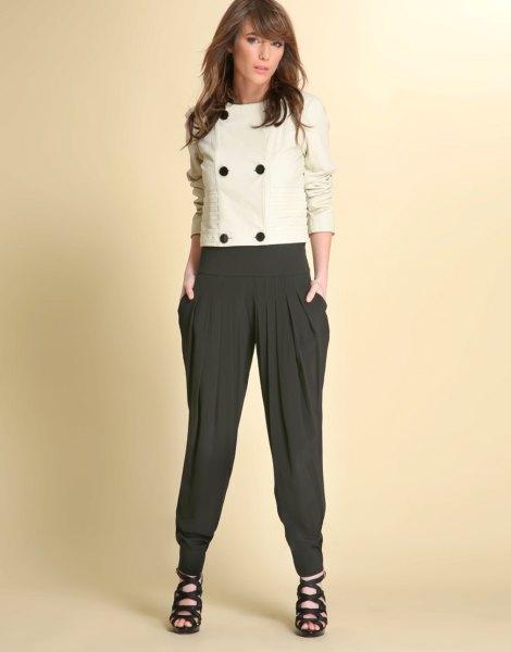 wool white top black harem pants