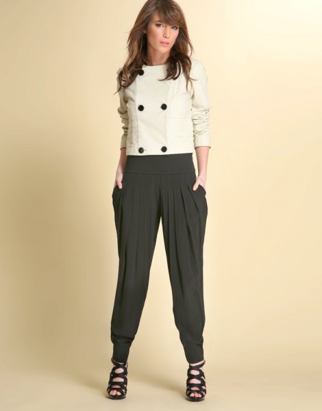 wool white top black harem pants