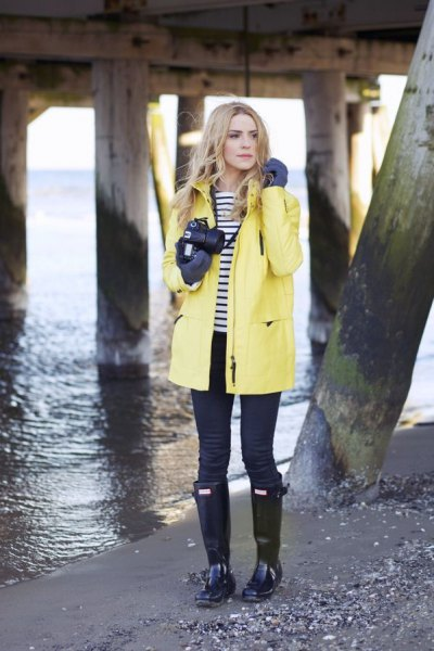 yellow raincoat navy and white striped t shirt
