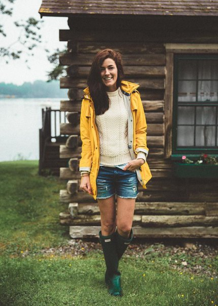 yellow raincoat white knit sweater