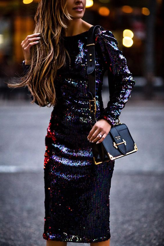 black sparkly dress sequin