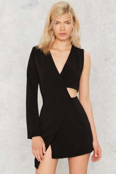 asymmetric cutout black mini dress