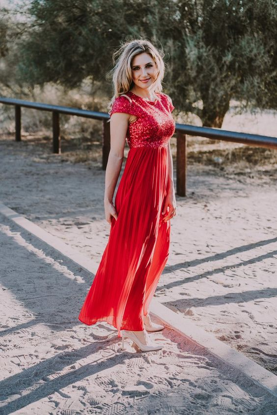 red sequin dress tulle mix
