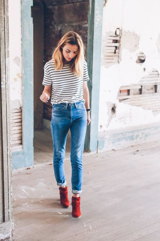 best red ankle boots outfit ideas
