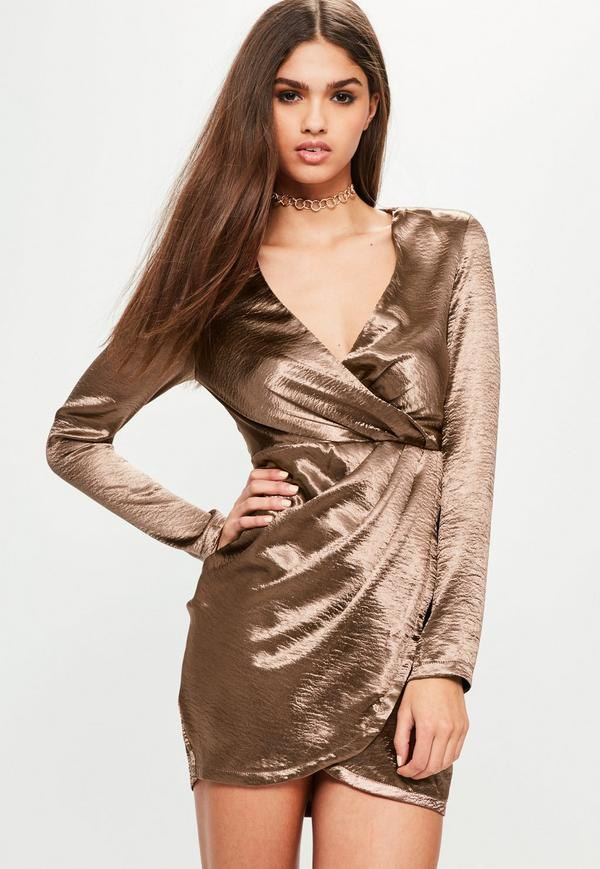 best satin wrap dress outfit ideas