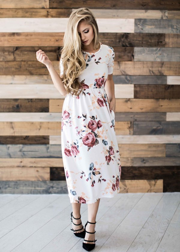best white floral dress outfit ideas