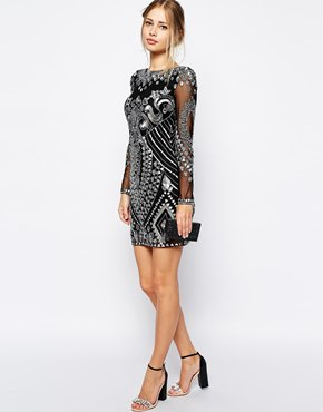 black and silver bodycon embellished shift dress
