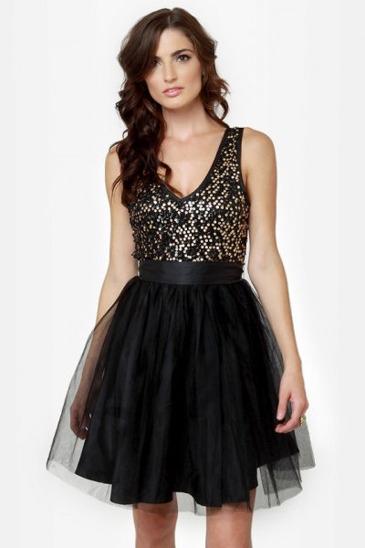 black and silver sequin tulle dress