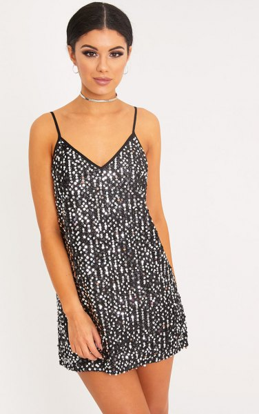black and silver slip dress with choker