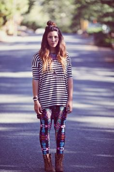 black and white striped t shirt printed purple leggings