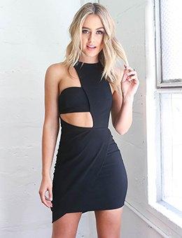 black asymmetric cut out bodycon dress