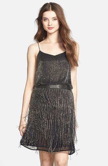 black belted fringe shift dress