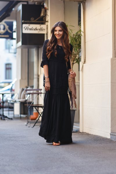 black boho style loose fit floor length dress