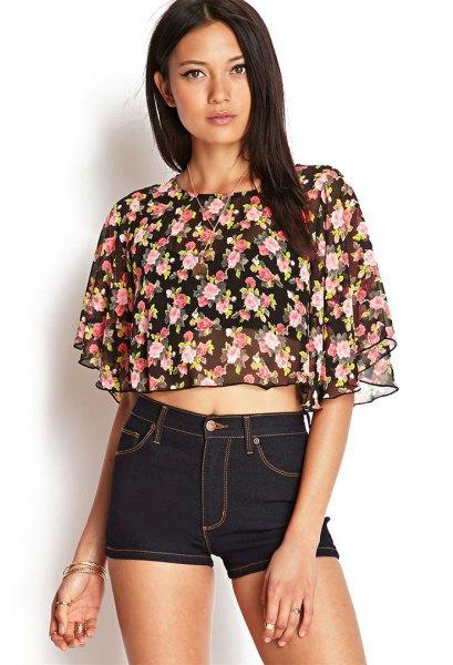 black chiffon floral flutter sleeve crop top denim shorts