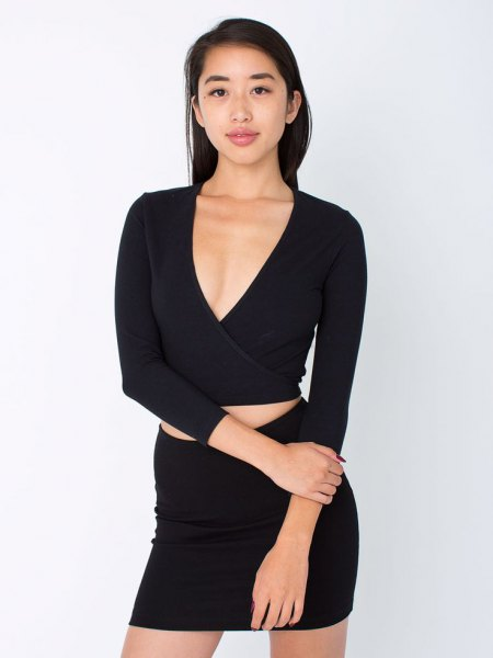 black crop top bodycon skirt two piece set