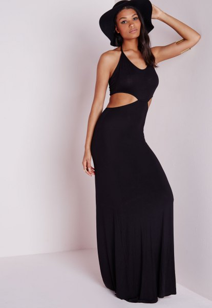 black cutout maxi dress floppy hat