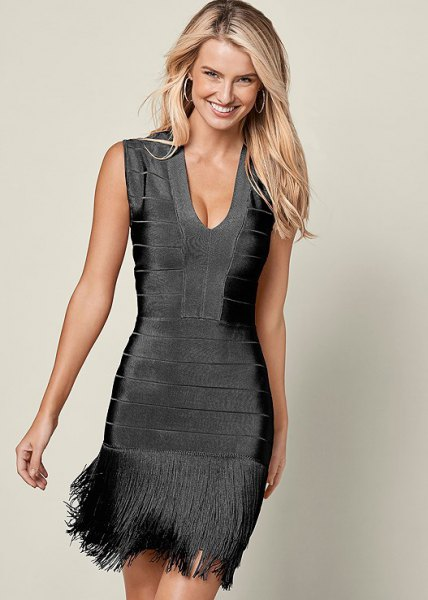 black deep v neck bodycon fringe dress
