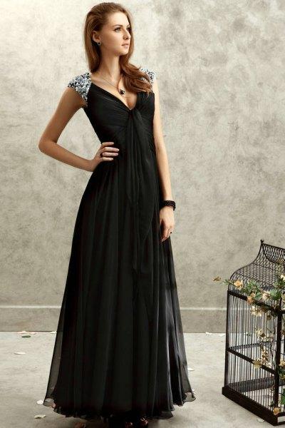 black deep v neck chiffon floor length dress silver straps