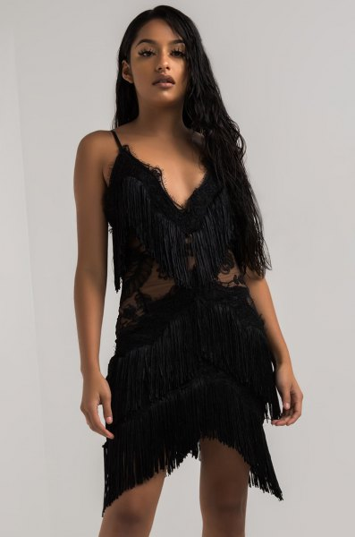 black deep v neck lace mini dress