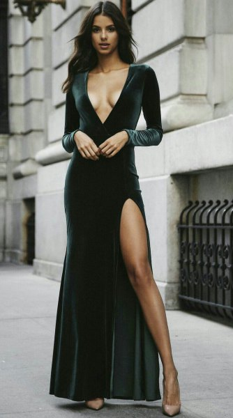 black deep v neck velvet maxi dress