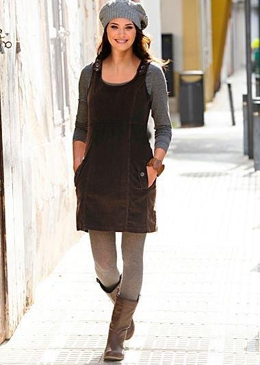 black dress grey leggings knee high boots
