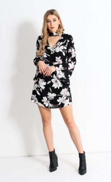 black floral choker bell sleeve shift dress