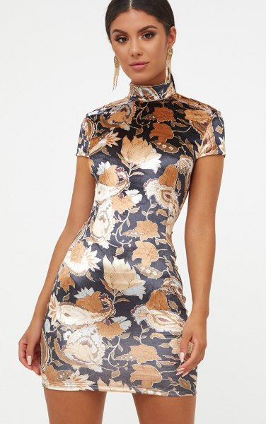 black floral high neck bodycon dress
