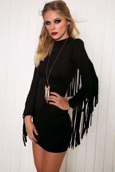 black fringe sleeve bodycon dress
