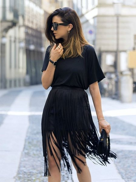 black gathered waist mini dress