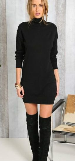 black high neck sweater dress thigh high boots