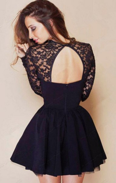 black lace and chiffon open back skater dress