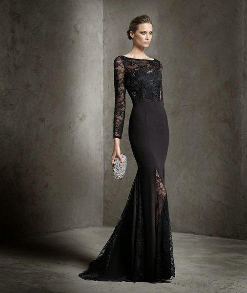 black lace bodycon mermaid dress