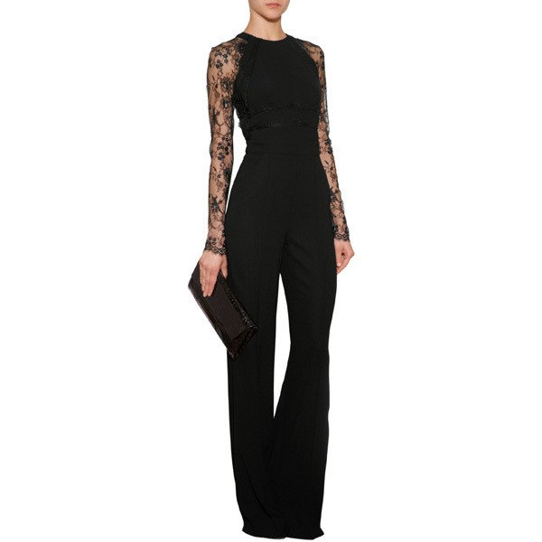 black lace sleeve wide leg jumpsuit