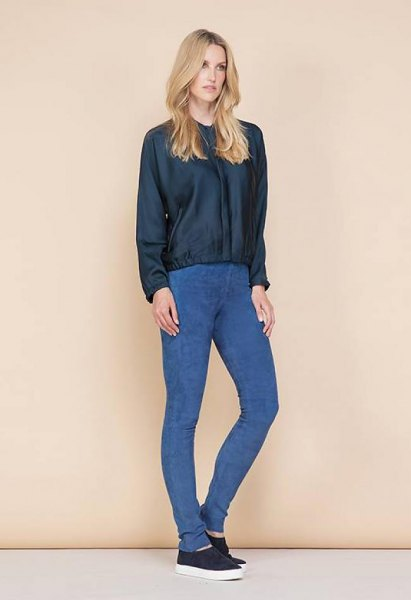 black leather jacket royal blue suede leggings