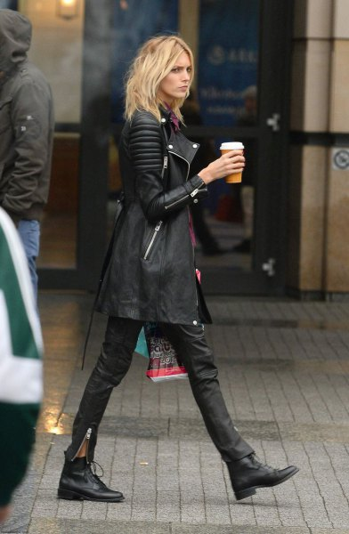 black long leather moto jacket leather leggings