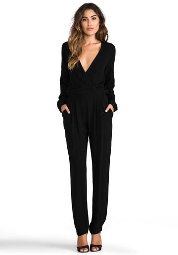 black long sleeve deep v neck jumpsuit