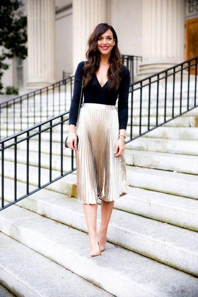 black long sleeve deep v neck rose fold pleated skirt