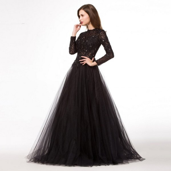 black long sleeve sequin and chiffon dress