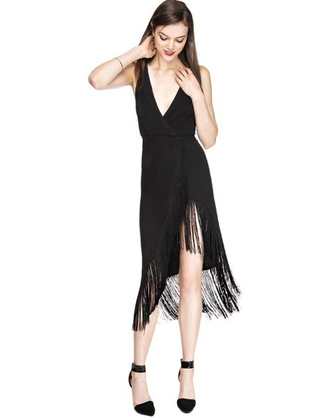 black low v neck high low midi fringe dress
