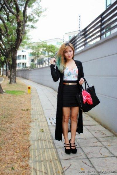 black maxi cardigan grey vest top pencil skirt