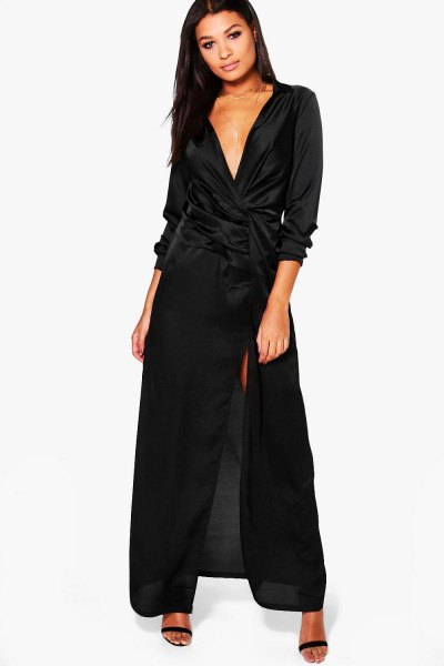 black maxi deep v neck satin wrap dress
