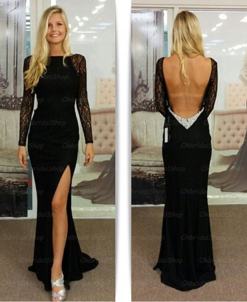 black maxi lace backless dress