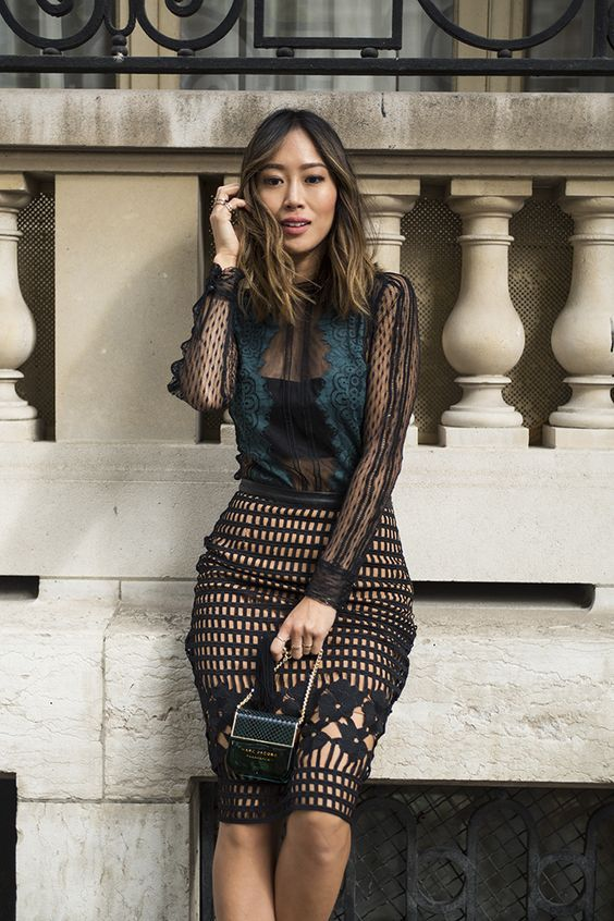 black mesh dress combined
