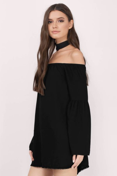 black off shoulder mini dress with choker