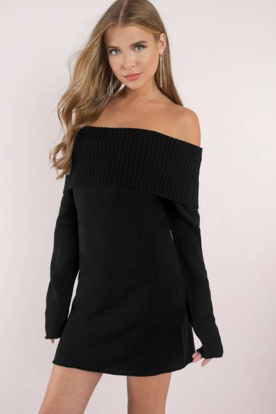 black off the shoulder sweater dress