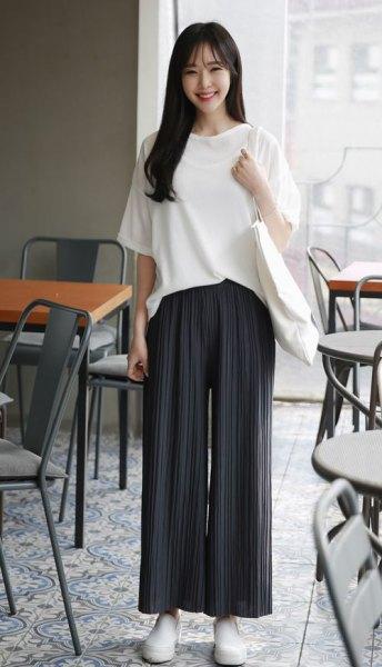 black palazzo pants white oversized t shirt
